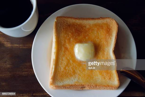 Butter toast close up