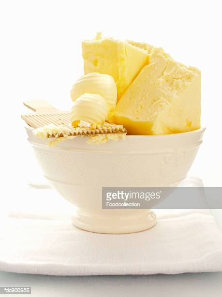 Butter with Butter Curls in a White Bowl