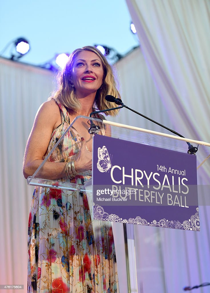 Butterfly Ball Co-Chair Rebecca Gayheart-Dane speaks onstage during the 14th annual Chrysalis Butterfly Ball sponsored by Audi, Kayne Anderson, Lauren B. Beauty and Z Gallerie on June 6, 2015 in Los Angeles, California.