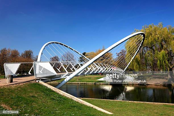 butterfly bridge over the river great ouse bedford - bedford england stock photos and pictures