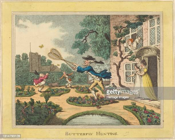 Butterfly Hunting, 1806. Artist Thomas Rowlandson.