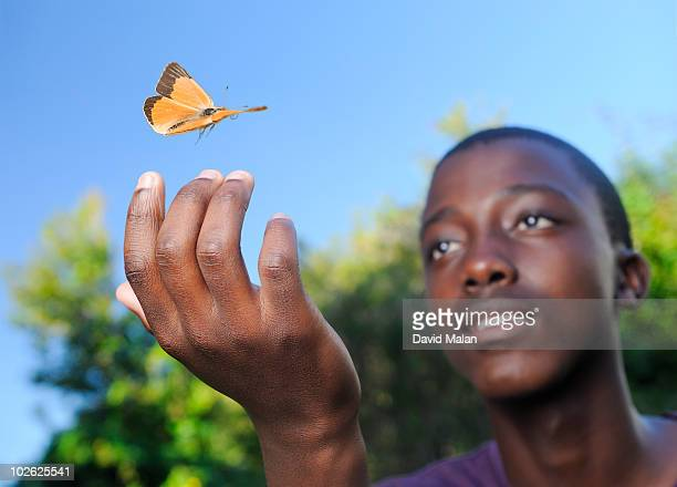 Butterfly landing on a boys hand.