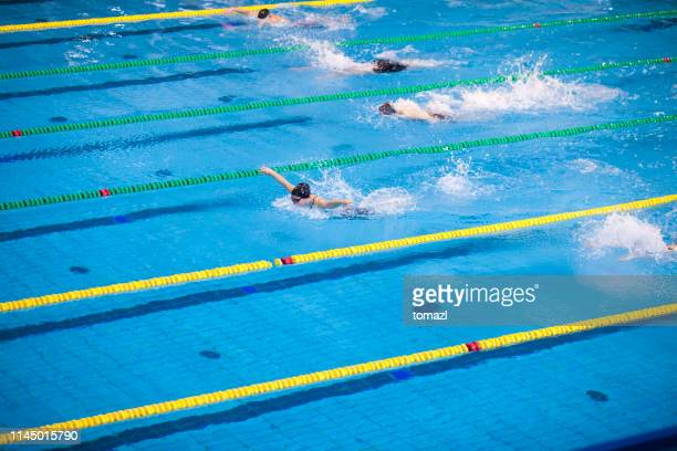 butterfly stroke swimming competition for women - the olympic games stock pictures, royalty-free photos & images