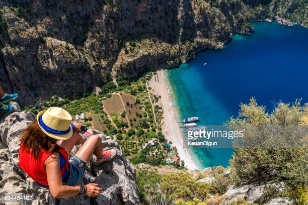 butterfly valley from oludeniz. fethiye / turkey. - mugla province stock pictures, royalty-free photos & images