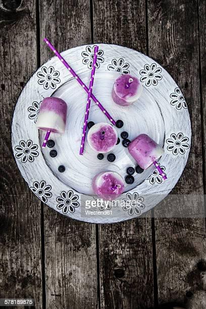 Buttermilk blueberry ice cream in glasses