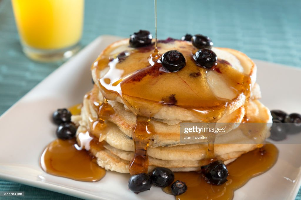 Buttermilk Pancakes with Blueberries and Maple Syrup : Stock Photo