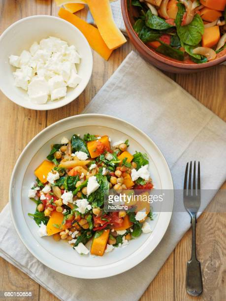 butternut squash chickpea cassoulet - feta cheese stock pictures, royalty-free photos & images