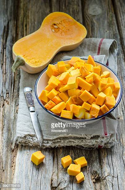 butternut squash, chopped in bowl