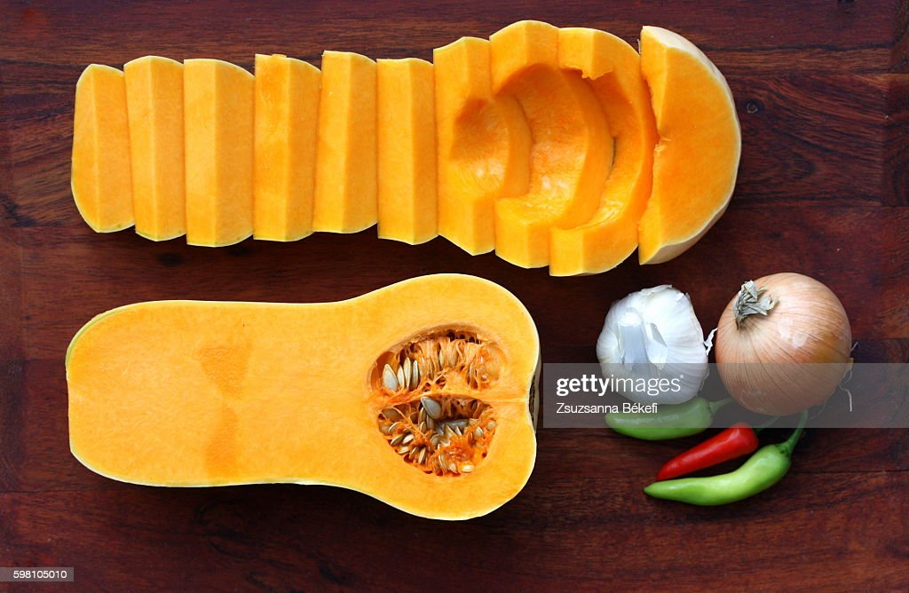 Butternut squash soup ingredients on a cutting board : Stock Photo