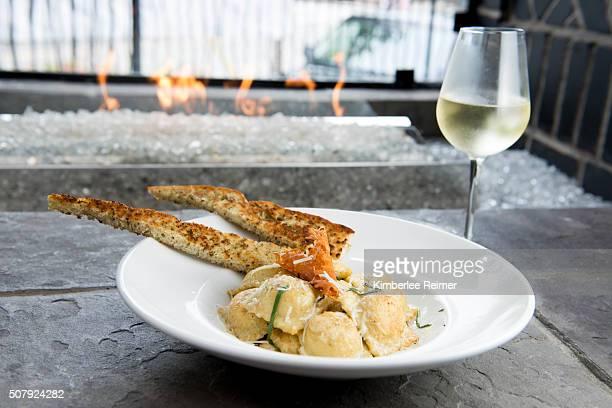 Butternut squash tortellini with wine