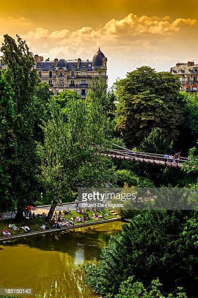 Buttes-Chaumont Park in Paris, France