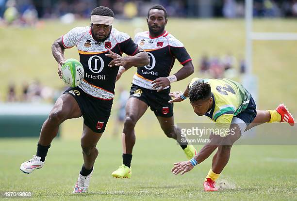 Buttler Morris of Paupua New Guinea in action during the World Sevens Oceania Olympic Qualification match between Papua New Guinea and Solomon...