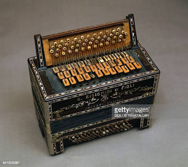 Button accordion ca 1912 made by Giuseppe Bisighini Italy 20th century
