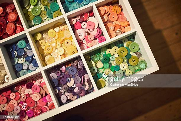 button collection sorted and stored - catherine macbride stock pictures, royalty-free photos & images