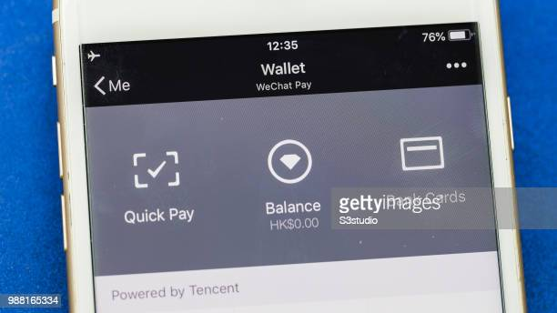 A button for the Tencent Holdings Ltd Quick Pay service is seen on the company's WeChat messaging application on June 29 2018 in Hong Kong Hong Kong