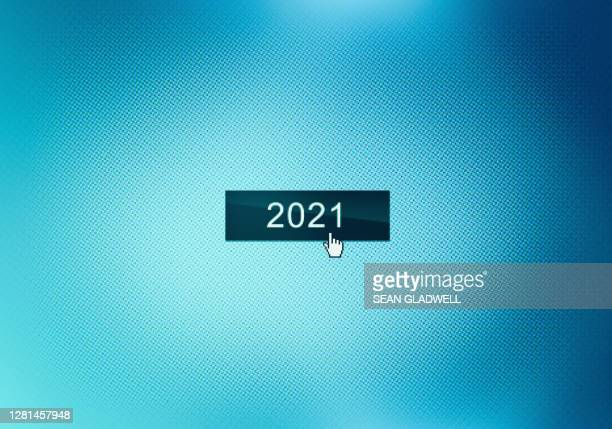 2021 button on screen - 2021 stock pictures, royalty-free photos & images