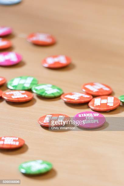 Buttons are left on a table as Eddie Izzard addresses The Cambridge Union on the EU Referendum on June 12 2016 in Cambridge Cambridgeshire After...