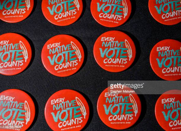 Buttons available at the Frank LaMere Native American Presidential Forum on August 20, 2019 in Sioux City, Iowa. A number of 2020 presidential...