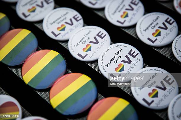 Buttons celebrating the Supreme Court's decision to legalize samesex marriage in the US are for sale at the San Francisco Gay Pride Parade June 28...