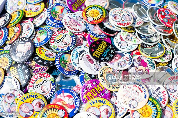Buttons for sale for Republican presidential candidate Donald Trump are seen outside his rally at the at the James A Rhodes Arena on August 22 2016...