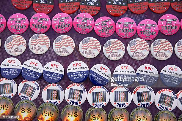 Buttons for sale outside a rally for republican presidential candidate Donald Trump on April 10 2016 in Rochester New York