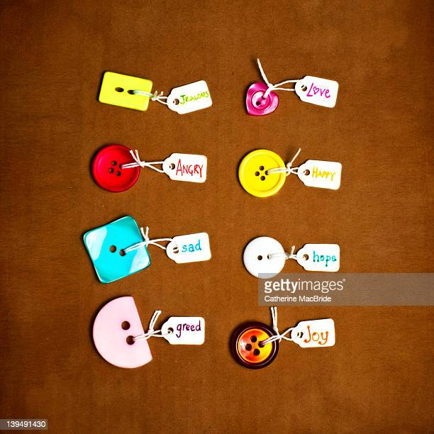 buttons labeled with various emotions - catherine macbride stock pictures, royalty-free photos & images