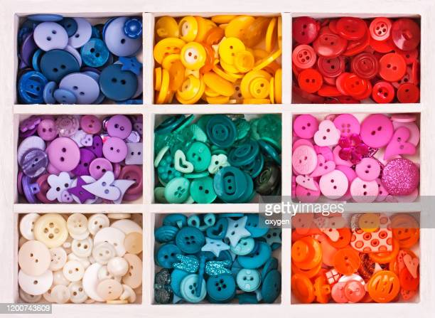 buttons on box with sewing set collection colorful arranged in a white wooden box - button sewing item stock pictures, royalty-free photos & images