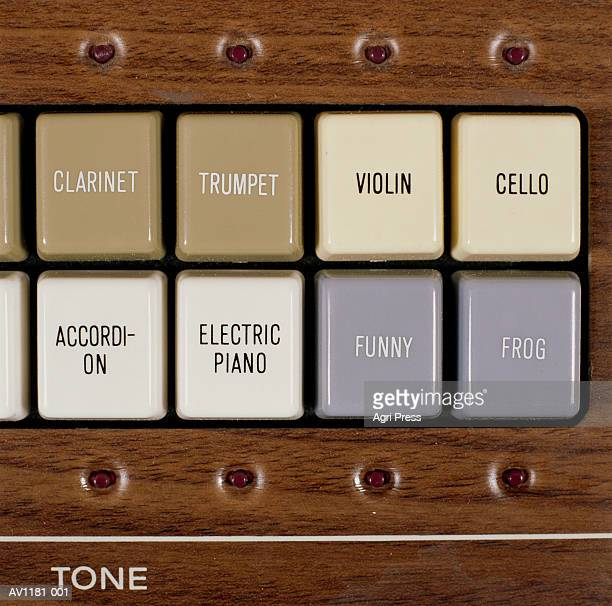 Buttons on electric keyboard, close-up