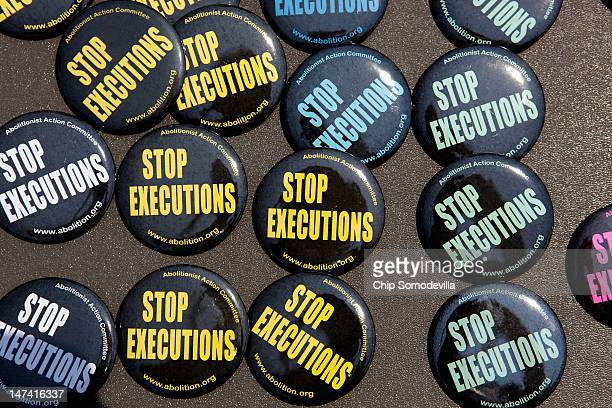 Buttons were for sale as death penalty opponents mark the 40th anniversary of the Supreme Court's landmark Furman v Georgia decision outside the...