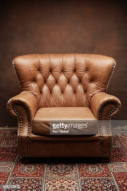 Button-tufted Leather Armchair