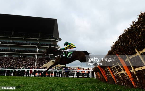 Buveur D'Air ridden by Noel Fehily jumps the last before going on to win the Stan James Champion Hurdle Challenge Trophy during Champion Day of the...
