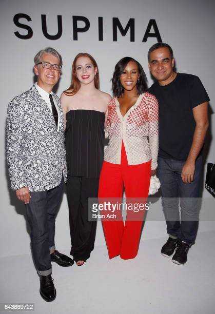 Buxton Midyette winner Alyssa Wardrop FIT June Ambrose and Bibhu Mohapatra at Supima Design Competition SS18 runway show during New York Fashion Week...