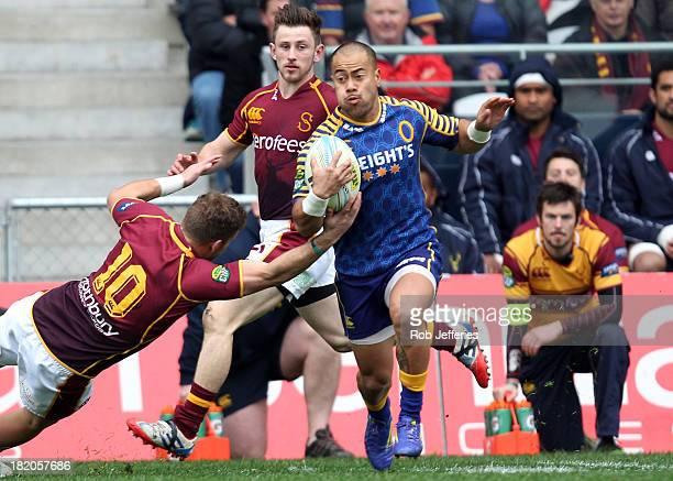 Buxton Popoali'i of Otago on the attack during the round seven ITM Cup match between Otago and Southland at Forsyth Barr Stadium on September 28 2013...