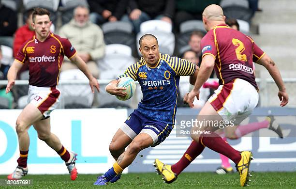 Buxton Popoali'i of Otaqo makes a break during the round seven ITM Cup match between Otago and Southland at Forsyth Barr Stadium on September 28 2013...