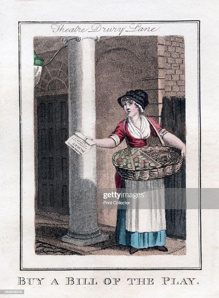 'Buy a Bill of the Play', Drury Lane Theatre, London, 1805. : ニュース写真