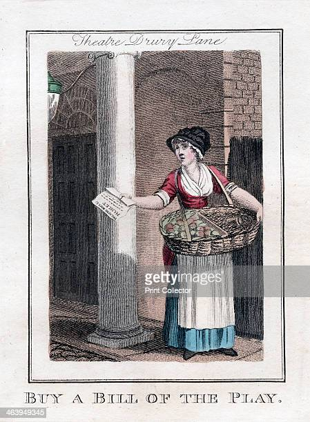 'Buy a Bill of the Play', Drury Lane Theatre, London, 1805. A copper plate representing the itinerant traders of London, from Modern London; Being...