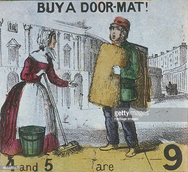 'Buy a Doormat' A doormat seller with mats draped over his body stands next to a woman with a bucket and broom From Cries of London c1840