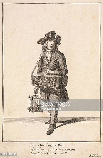 'Buy a fine singing Bird' A seller of singing birds carrying two cages one containing a solitary bird the other several From Cries of London