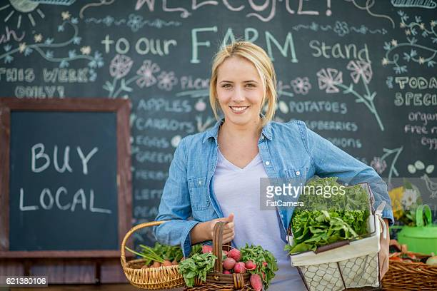 buy local at the farmer's market - farm to table stock photos and pictures
