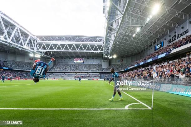 Buya Turay of Djurgardens IF celebrates scoring the 2-0 goal during an Allsvenskan match between Djurgardens IF and Kalmar FF at Tele2 Arena on July...