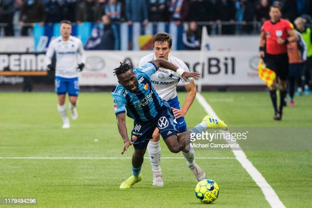 Buya Turay of Djurgardens IF fouled during an Allsvenskan match between IFK Norrkoping and Djurgardens IF at Nya Parken on November 2 2019 in...