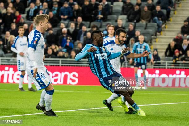 Buya Turay of Djurgardens IF scores the 21 goal during the Allsvenskan match between Djurgardens IF and IFK Goteborg at Tele2 Arena on April 15 2019...