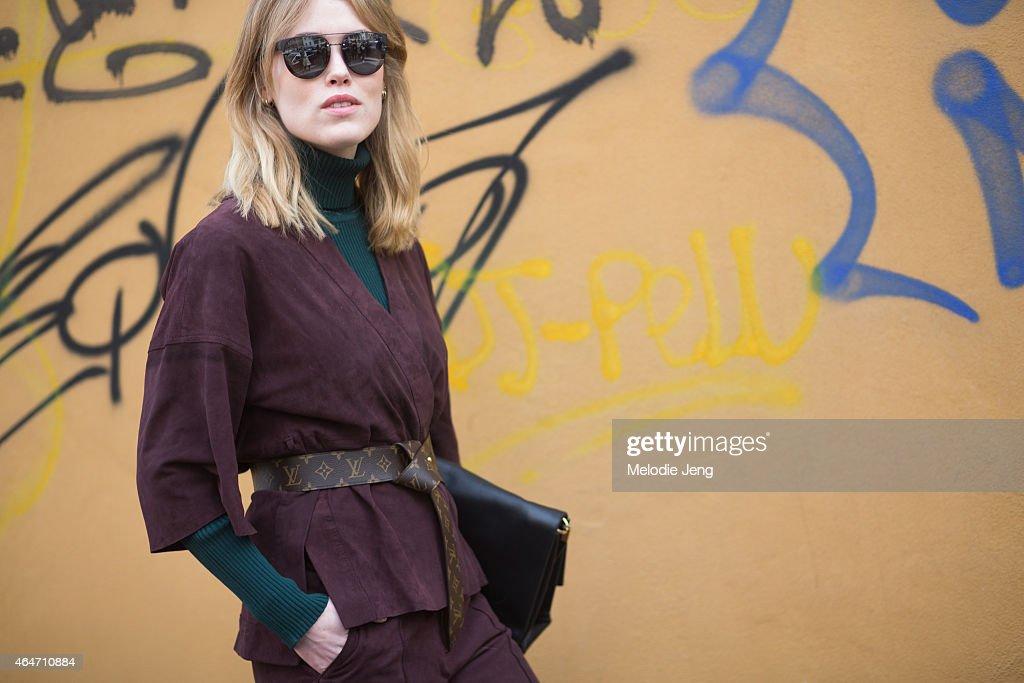 Street Style - Day 3 - MFW FW2015 : News Photo