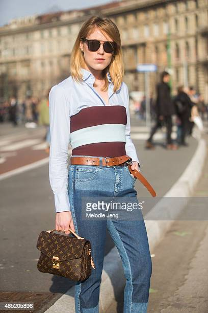Buyer Annabel Rosendahl wears a Stella McCartney striped top and pants FWSS blue top Dior sunglasses Acne belt Riccardo Tisci x Nike Air Force 1...