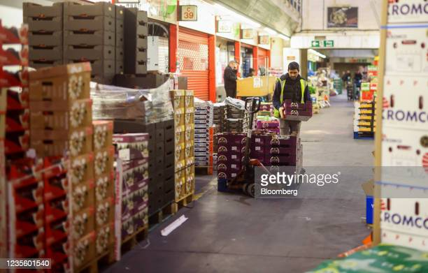 Buyer places a tray of avocados on to a pallet in the Buyers Walk at New Covent Garden Market wholesale market in London, U.K., on Thursday, Sept....