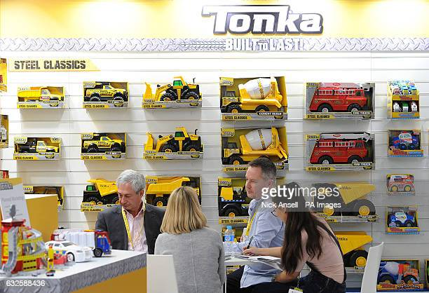 Buyers at the Tonka stand during the press preview for Toy Fair 2017 at Olympia in London
