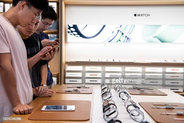 Buyers interested in Apple products such as iwatch and iphone seen at the American multinational technology company Apple store in Causeway bay Hong...