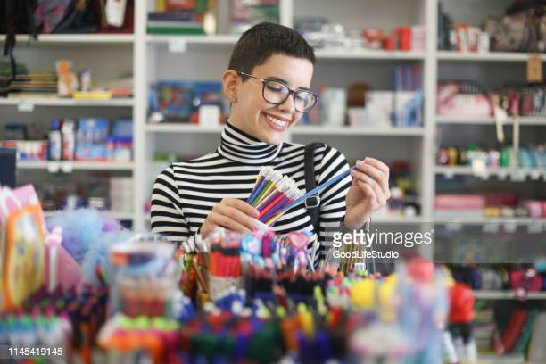 buying school supplies - school supplies stock pictures, royalty-free photos & images