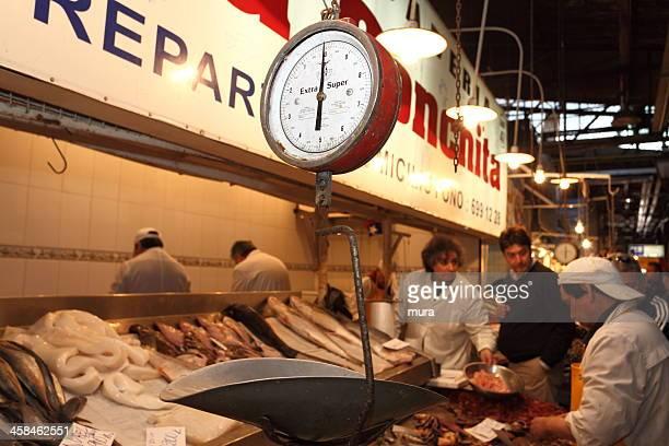Buying seafood on fish market
