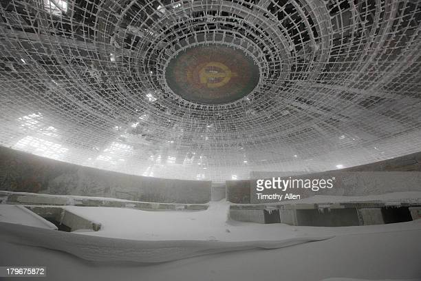 Buzludzha Monument auditorium in snow